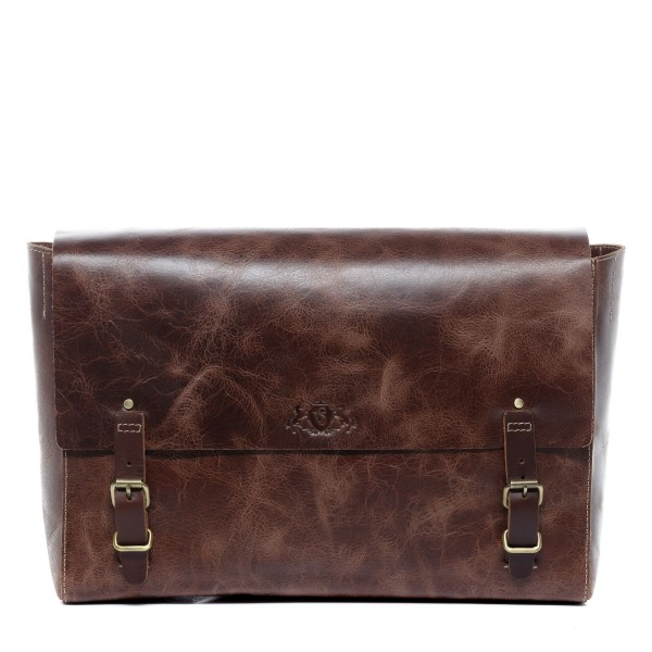 SID & VAIN Messenger bag DUNCAN Distressed Leder vintage-braun Laptoptasche Messenger bag