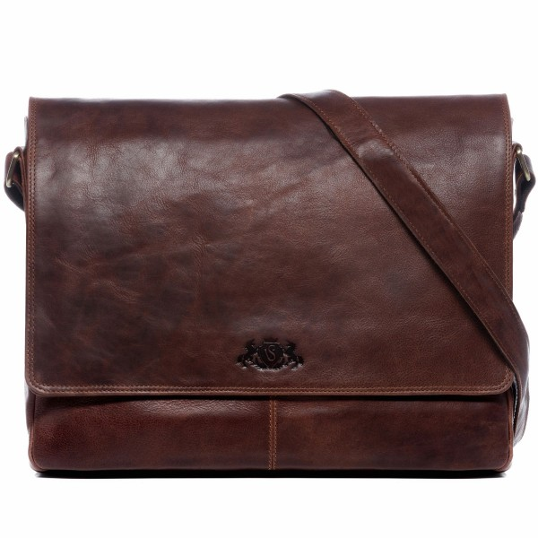 SID & VAIN Messenger Laptoptasche SPENCER Natur-Leder vintage-braun Businesstasche Laptoptasche Messenger Bag