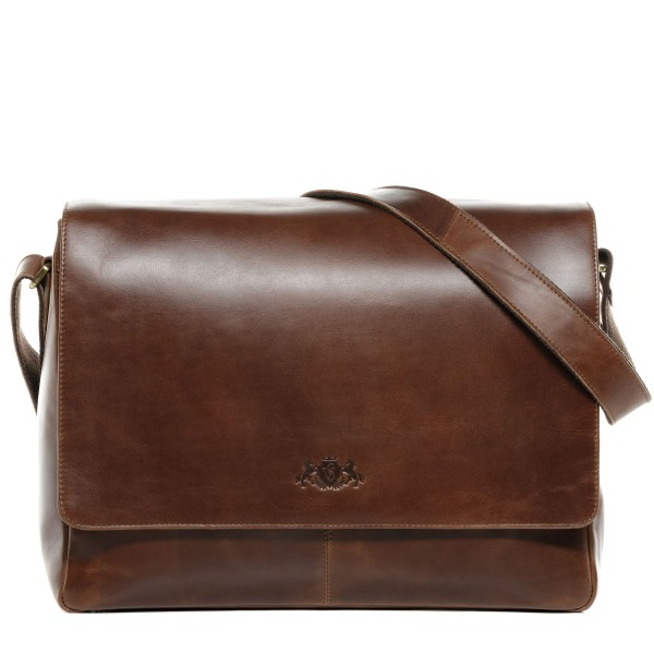 Laptoptasche Messenger Bag SPENCER Natur-Leder